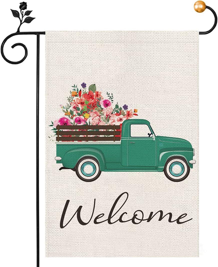 Welcome Garden Flag 12 x 18 Inch, Summer Garden Flag Vintage Floral Truck Double Sided, Spring Summer Farmhouse Flag Yard Outdoor Decoration