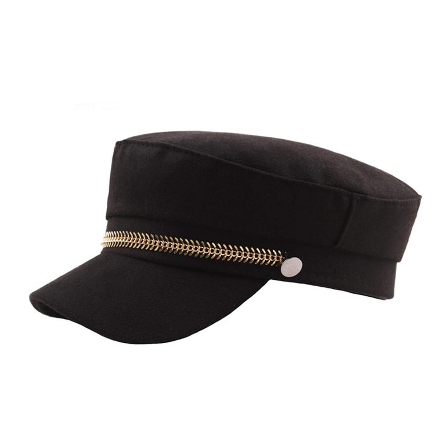 MEIZOKEN Gold Chain Woolen Feel Newsboy Hats Women Cap Flat Caps Men Gorras Mujer, Black at Amazon Womens Clothing store: