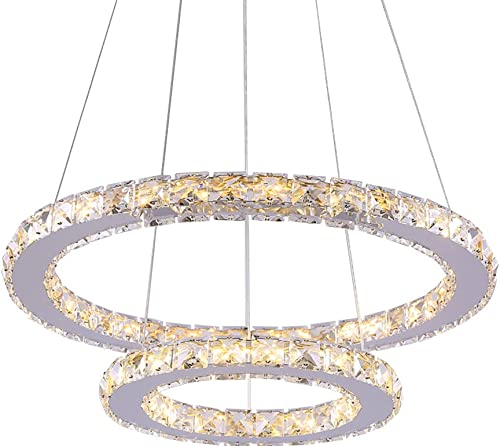 Boshen LED One Two Ring Crystal Chandelier Pendant Ceiling Lamp Lighting Round Light Fixtures for Living Room Foyer