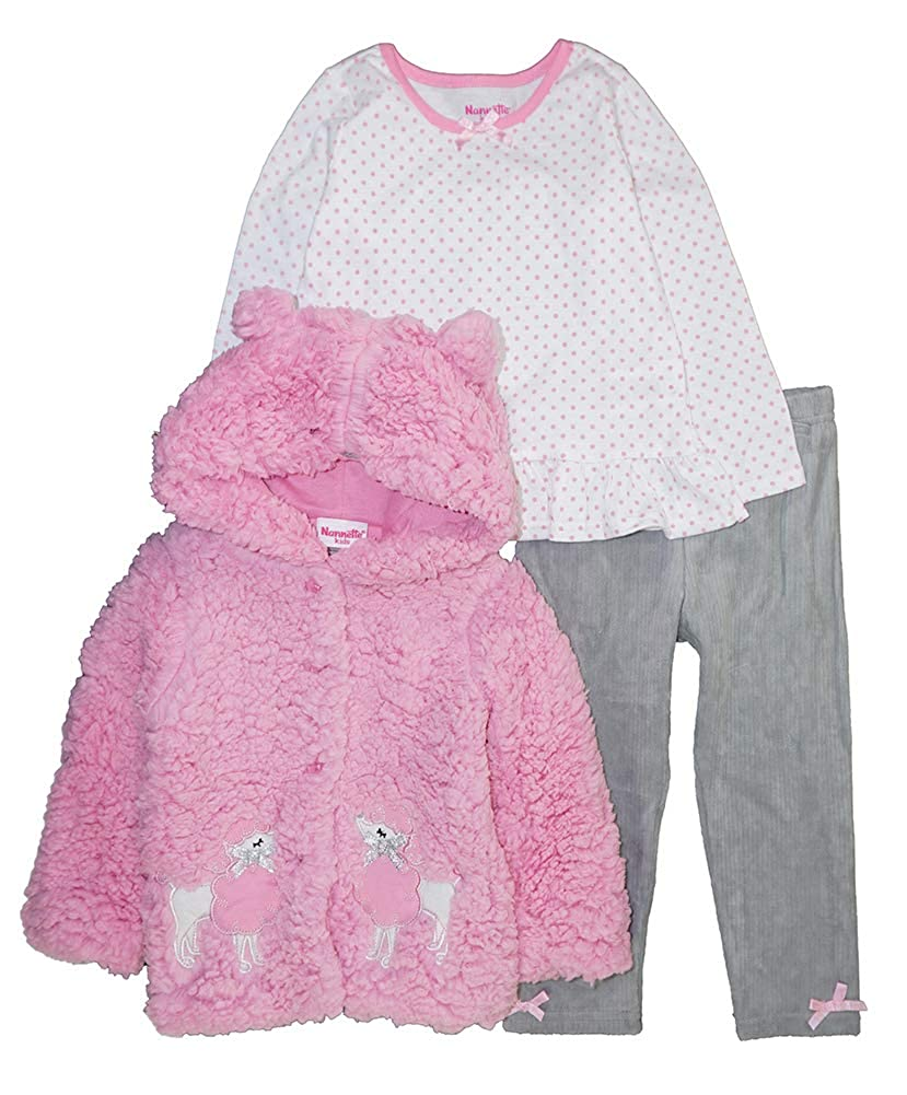 Nannette Girls Toddler 3 Piece Hooded Faux Fur Jacket Set with Tee and Pant