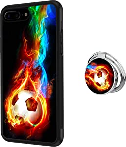 Feloowse Case for iPhone 7 Plus 8 Plus Case with Ring Holder Stand Flame Soccer Pattern Design iPhone 7 Plus 8 Plus Anti-Slip TPU + Hard PC Back Case