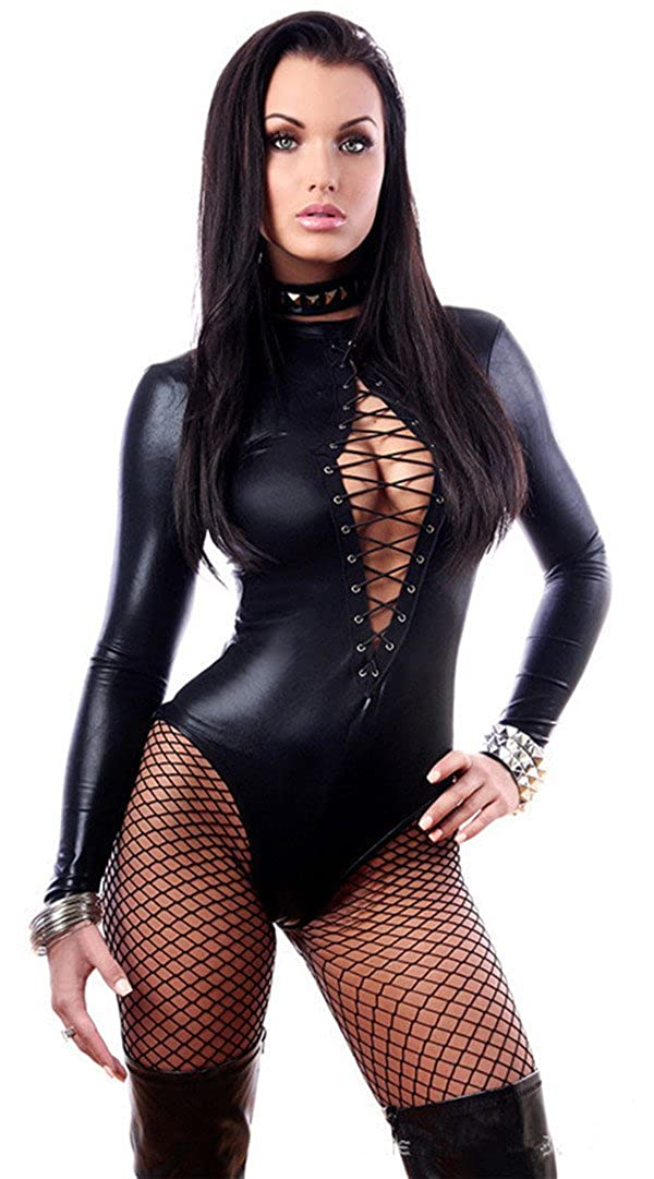 Women's Lace up Front Wetlook Long Sleeve Romper Overall Bodysuit Stripper X638