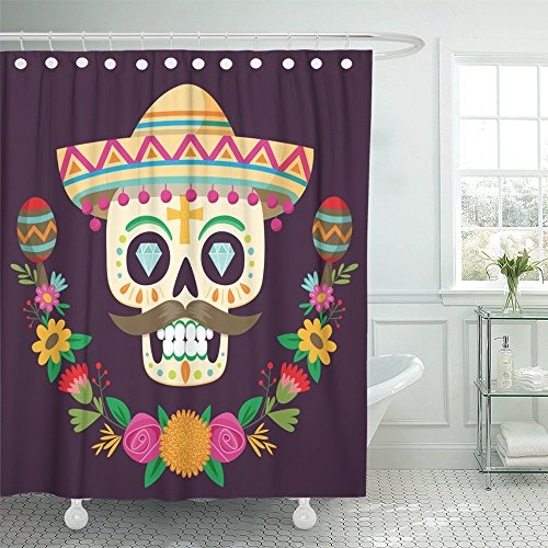 Emvency Shower Curtain Waterproof Decorative Bathroom 72 x 72 inches Colorful Day Dia De Los Muertos Mexican Sugar Skull with Hat Flowers and Two Maracas Polyester Fabric Set with Hooks
