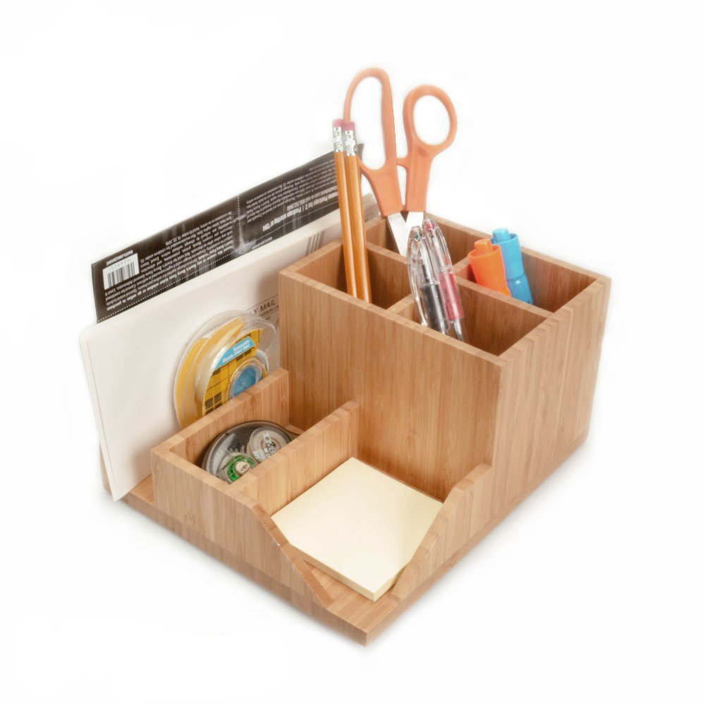 MobileVision Bamboo Multi-Function Desktop Organizer; Store stationary items like notepads, file folders, paperclips, business cards, pens, more