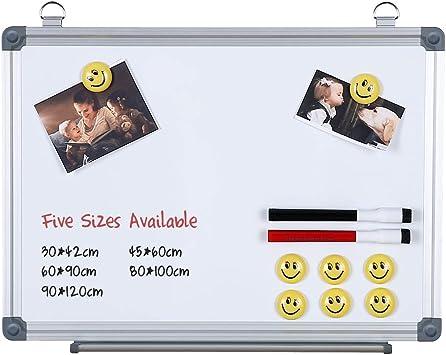 Magnetisches Whiteboard 4 THOUGHT Haus Magnettafel Aluminiumrahmen Wandmontage 2 Markern /& 8 Magneten Magnetwand ist perfekt f/ür B/üro Schule 80 * 100