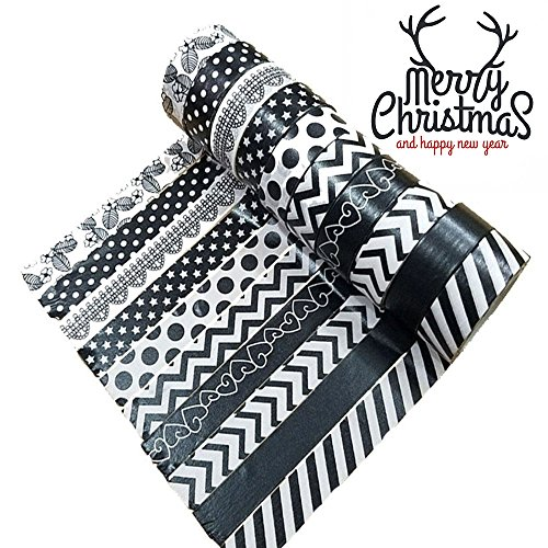 """Discount Black White Washi Masking Tape, 10 Rolls Christmas Paper Decorative Craft Tape Collection Set(0.6"""" x2.8ft) supplier"""