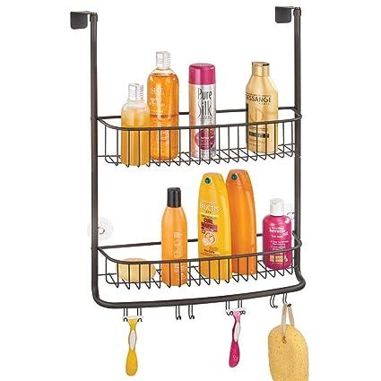 mDesign Estanterías de baño para Colgar – Práctico Colgador de Ducha sin  Taladro – Estantes para 5af8329b929e