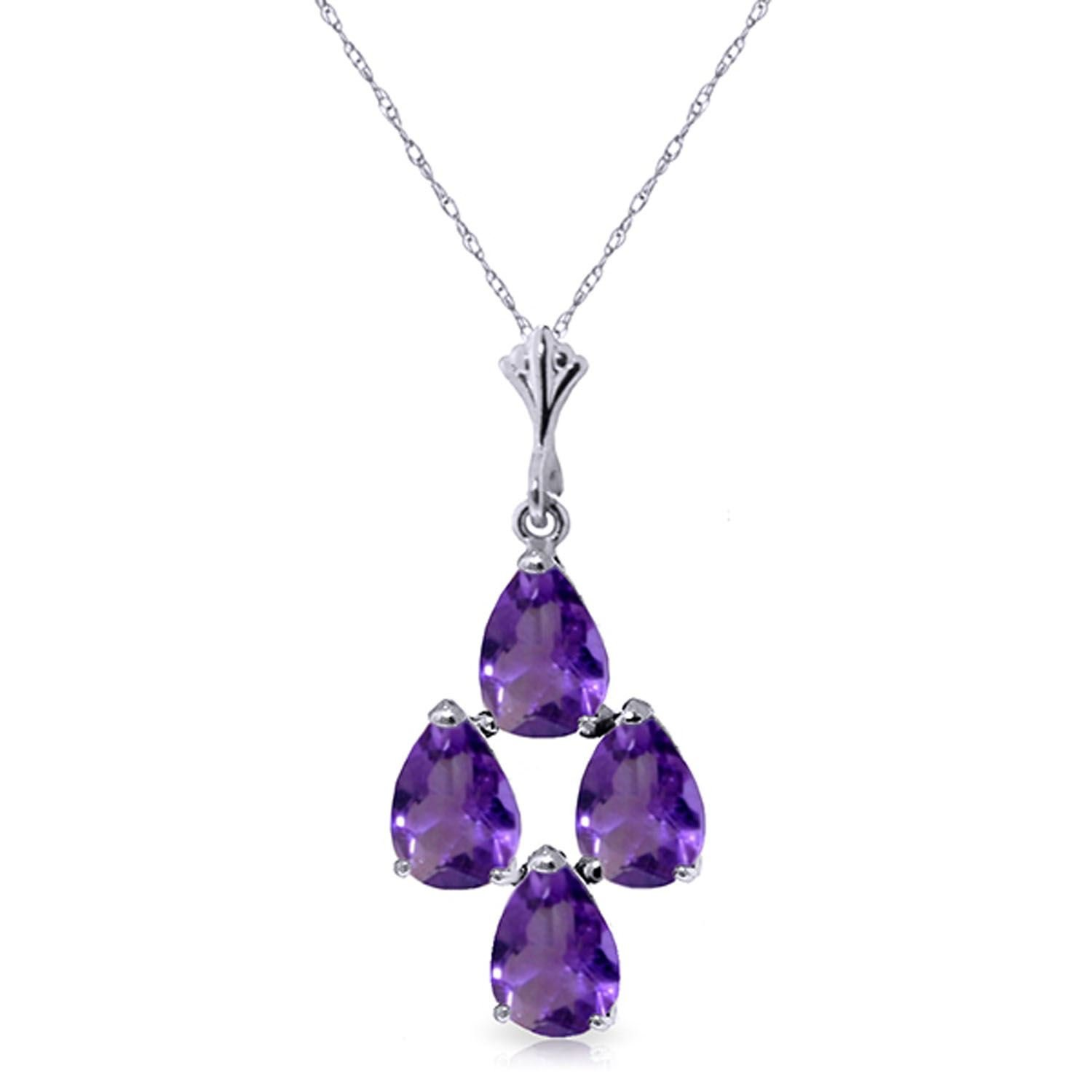 ALARRI 1.5 Carat 14K Solid White Gold Surreal Love Amethyst Necklace with 18 Inch Chain Length