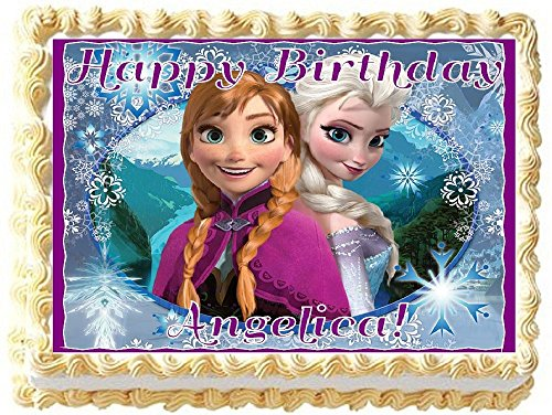 Frozen Personalized Edible Cake Topper Image -- 1/4 Sheet ()