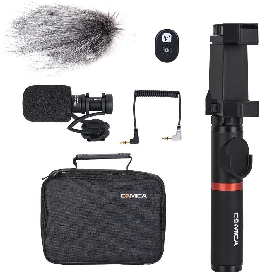 Video Rig f/ür iPhone und Android CVM-Vm10-K2 Comica Smartphone Video Kit Filmmaker Mini Stativ mit Shotgun Video Mikrofon