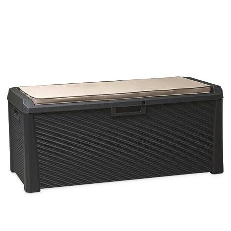 Box In Plastica Per Giardino.Cuscino Box Plastica 560l Antracite Impermeabile Cassapanca Baule Da