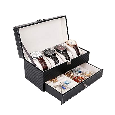 Cajas para Relojes Caja de joyería de Cuero de Doble Capa ...
