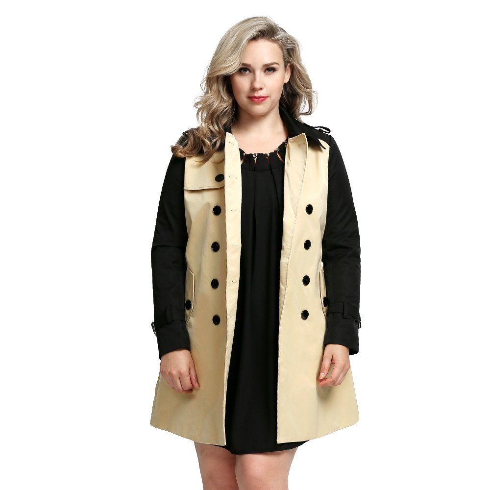 Women's Plus-Size Classic Double-Breasted Trench Coat SP 14 THIN MORE