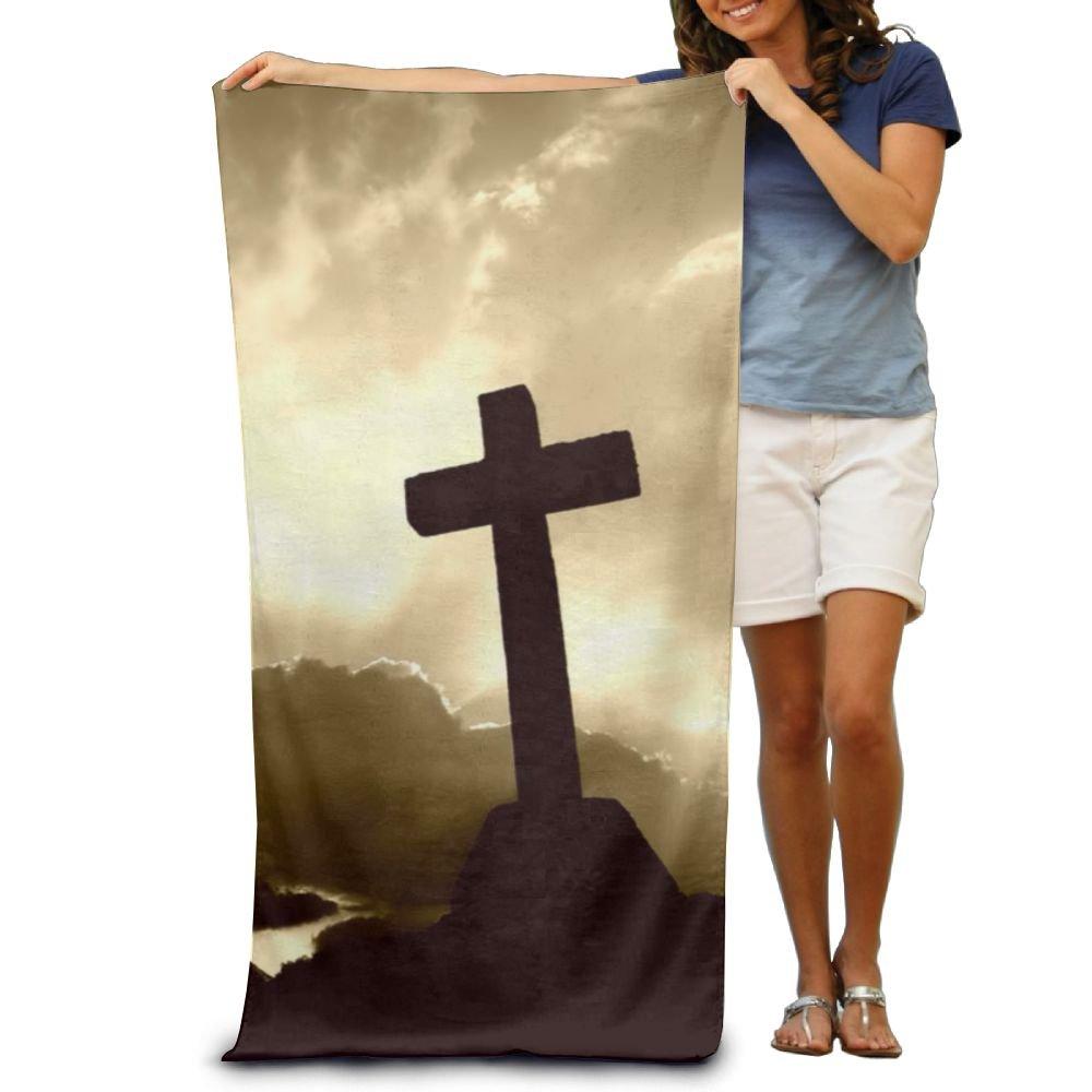 TRUSKC Sunrise Cross Christian Custom Made 100% Polyester Soft Beach Towel(31'' 51''), Quick Dry Super Absorbent Beach Towel For Men Or Women