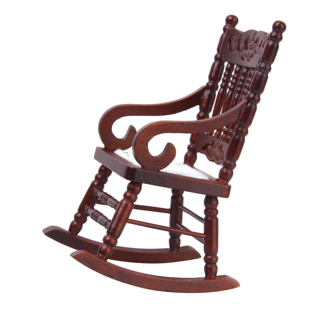 1/12 Dollhouse Miniature Rocking Chair Model Brown Generic
