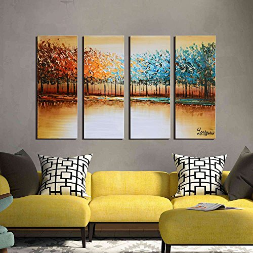 4 Piece Wall Art (ARTLAND Hand Painted Canvas Artwork 'Forest of Secrets' 4-piece Framed Abstract Wall Art Decoration for Living Room 28x48-inch)