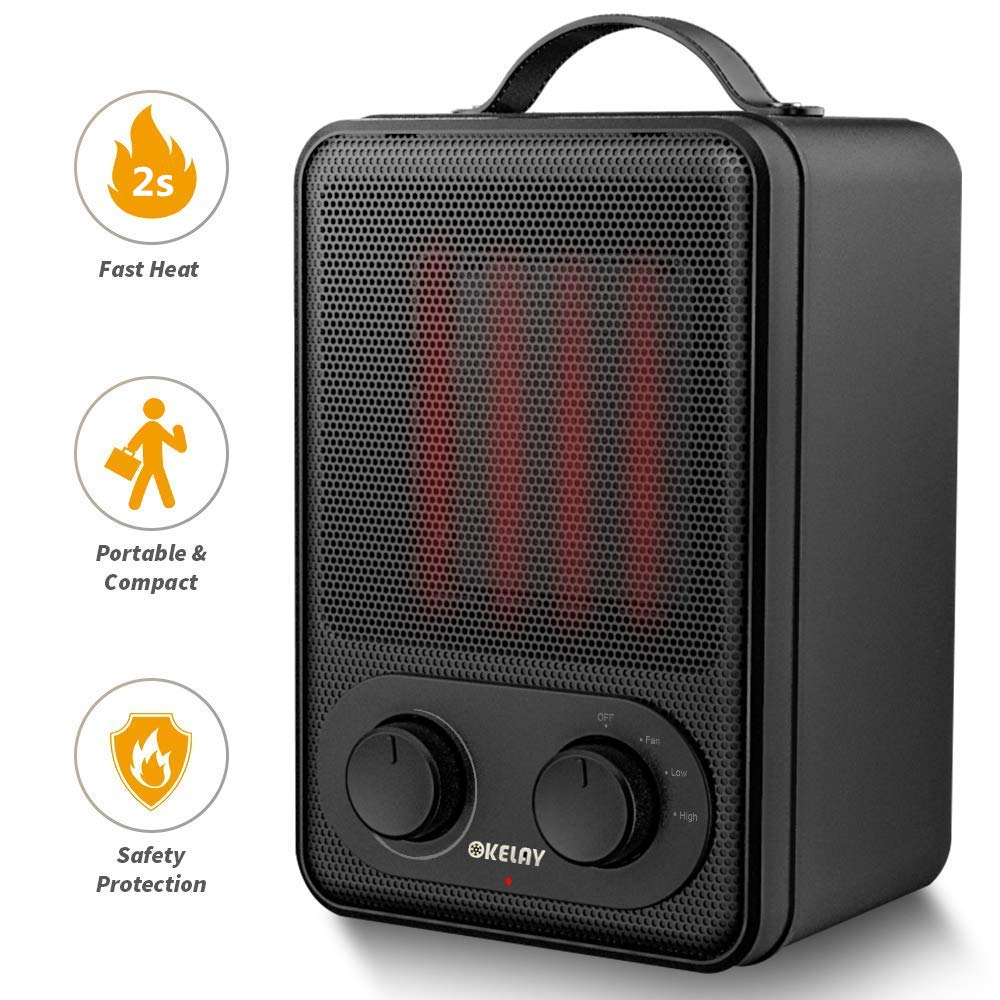 OKELAY 1800W/900W Electric Fan Heater - Portable Ceramic Space Heaters with 2 Heat Settings - Tip-Over Shut off & Overheat Protection, Carrying Handle and 2s Quick Heating for Home Office Desk Garage