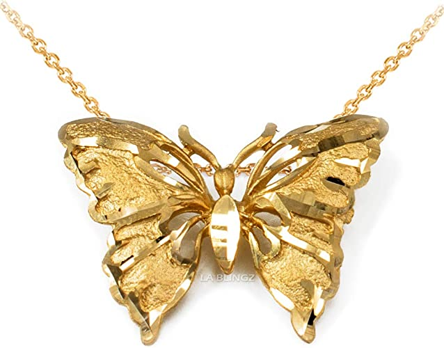 LA BLINGZ 10K Yellow Gold Om Lotus Mandala Pendant Necklace