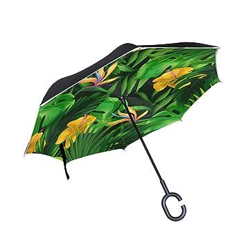 ALINLO Paraguas invertido Palmera Verde Tropical exótica, Doble Capa, Paraguas inverso Impermeable para Coche