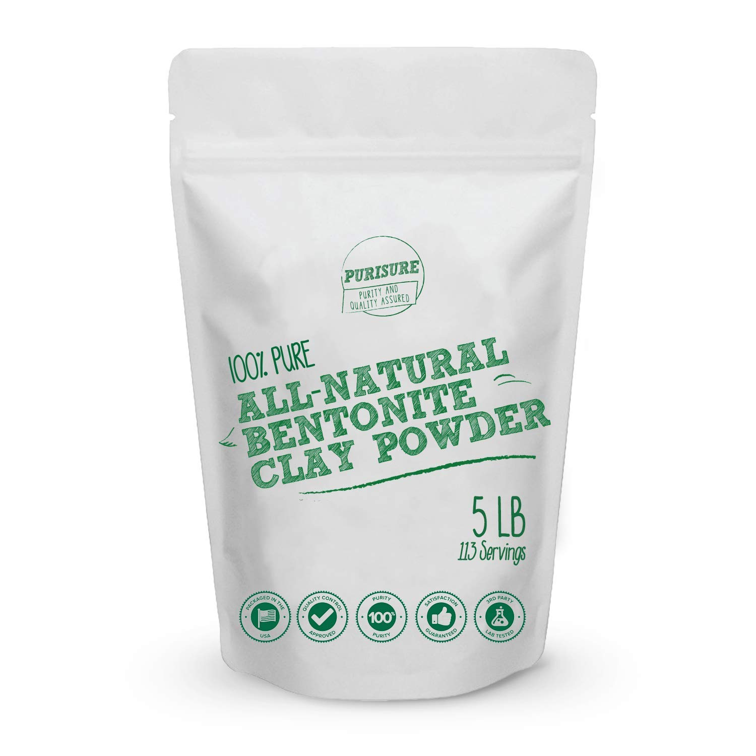 Purisure Bentonite Clay 5lbs, Acne Treatment, Mud Mask, Soothes And Detoxifies, Indian Healing Clay, Rich In Minerals, Lowest Price