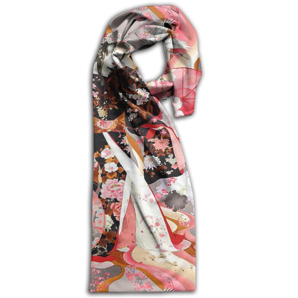 Japanese Geisha Oblong Warm Women Scarf Vibrant For Handbag Accessories Girl Shawls