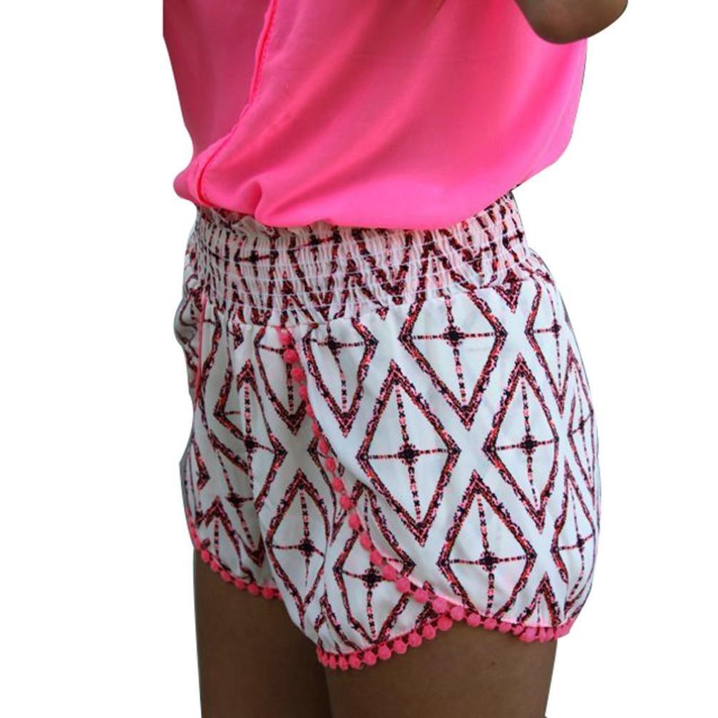 DaySeventh Women Sexy Hot Pants Summer Casual High Waist Beach Shorts (XL, Hot Pink)