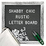 Shabby Chic Felt Letter Board Set with 10 x 10 Inch, Farmhouse Rustic Wood Frame, Gray Felt, 370 Changeable Letters Including Emojis, Wall Hook, Canvas Bag and Scissors by Main Event USA