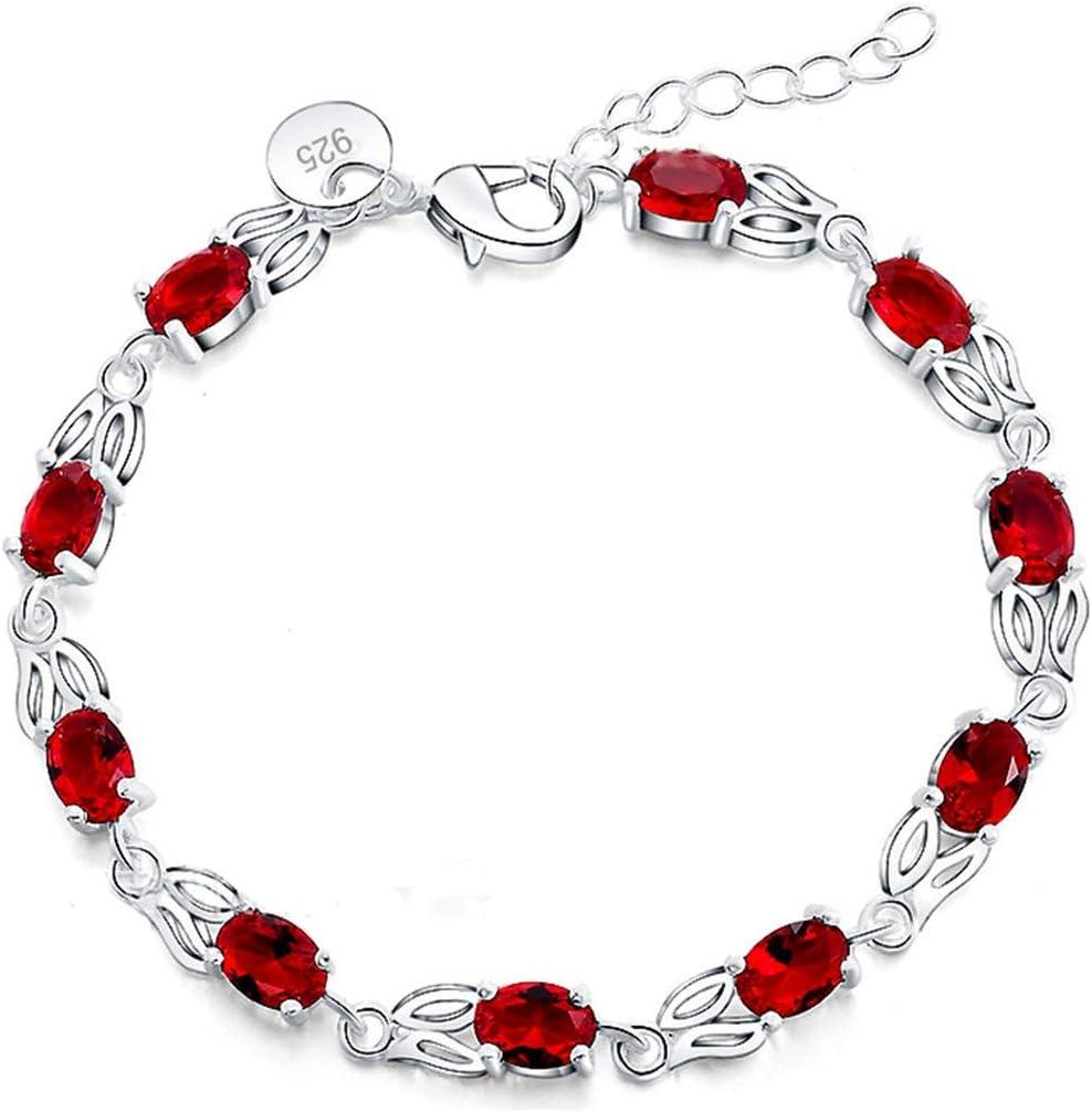 JohnJohnsen Pulsera con Encanto para Las Mujeres con el rubí Genuino joyería del Encanto del Partido Pulseras Accesorios Exquisito y con Encanto (Plata y Rojo)