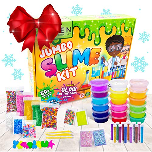 DIY Slime Kit for Girls Boys - Ultimate Glow in the Dark Glitter Xmas Slime Making Kit - Slime Kits Supplies include Big Foam Beads Balls, 18 Mystery Box Containers filled w Crystal Powder Slime (Balls Fake Box)