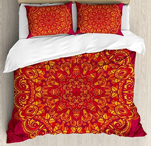 Ambesonne Mandala Duvet Cover Set King Size, Psychedelic Vibrant Colored Mandala Historical Ancient Art Elements, Decorative 3 Piece Bedding Set with 2 Pillow Shams, Fuchsia Mustard (Fuchsia Quilt Fabric)