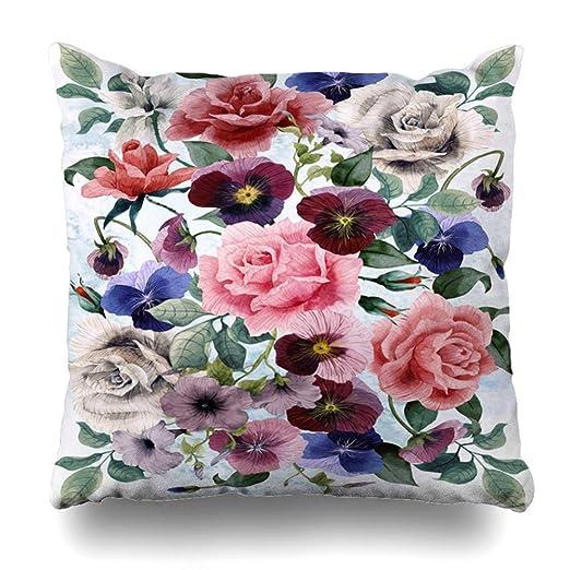 LanDu Funda de Almohada con diseño de Tulipanes y Rosas de ...