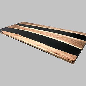 Mesa de comedor de madera y resina epoxi no tóxica de diseño único ...