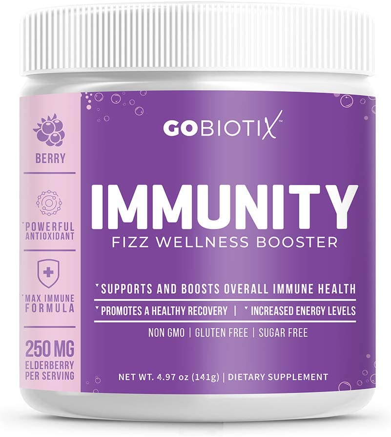 GoBiotix Immunity Fizz Wellness Booster – Antioxidant Immune support powder | Organic Super-Food Extract | Elderberry, Turmeric, Vitamin C, D, B12 ● Non-GMO, Vegan, Free Of Soy, Gluten & Sugar (BERRY)