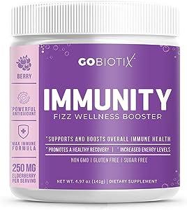 GoBiotix Immunity Fizz Wellness Booster – Antioxidant Immune support powder | Organic Super-Food Extract | Elderberry, Turmeric, Vitamin C, D, B12 ● Non-GMO, Vegan, Free Of Soy, Gluten & Sugar (BERRY)