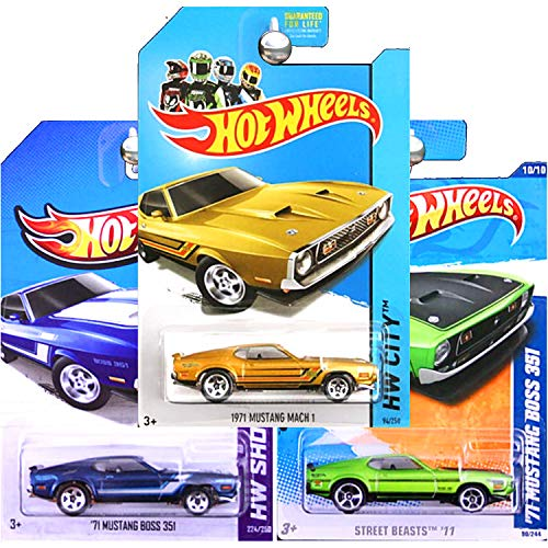 Hot Wheels 1971 Ford Mustang Mach 1 Boss 351 Blue Green and Gold Set of 3