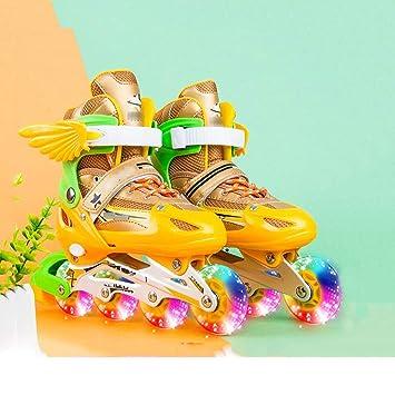 Y-M-H Patines en línea para niños Unisex Patinaje sobre Ruedas de tamaño Ajustable para Uso al