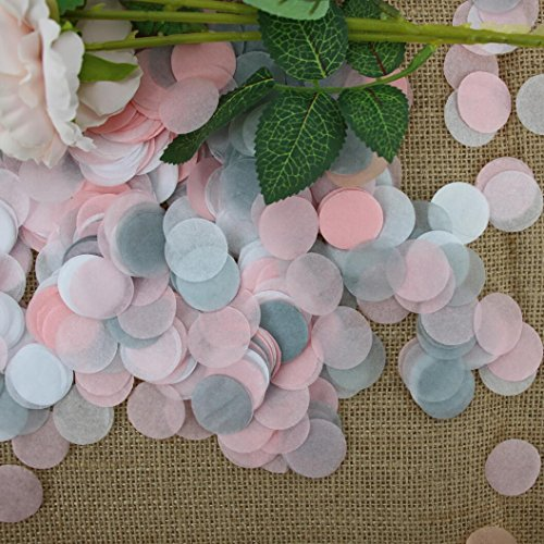 Mybbshower Pink Gray White Tissue Paper Confetti for Baby Girl Shower Birthday Table Decor 5000 Pieces