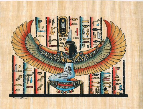 Hand Painted in Egypt Natural Papyrus Painting, Goddess Isis goddess of Love,motherhood, magic and fertility with her wings open . Size 7.8