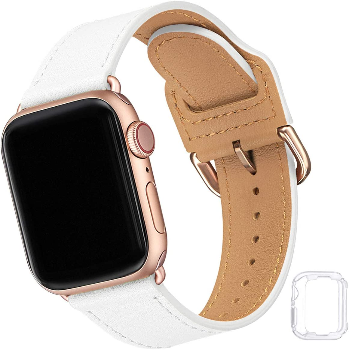 Compatible with Apple Watch Band 38mm 40mm 42mm 44mm, Soft Leather Watch Band Replacement Strap for iWatch SE Series 6 5 4 3 2 1 (White with Rose Gold, 38MM/40MM)