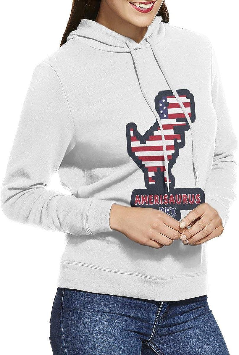 NVWEIYIJW Funny Dinosaur American Flag Pullover Hoodie Ladies Long Sleeve Tops Hooded Sweatshirts