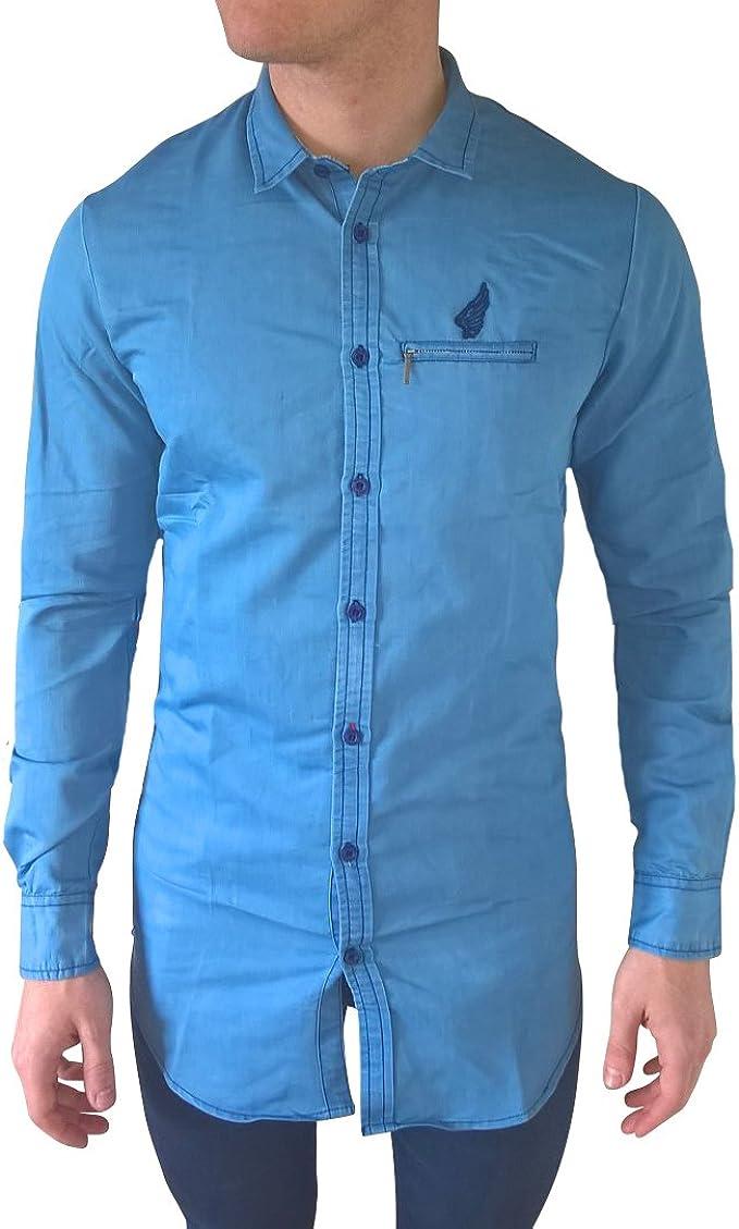 Camisa vaquero para hombre-Camisa para hombre, color azul claro azul L: Amazon.es: Ropa y accesorios