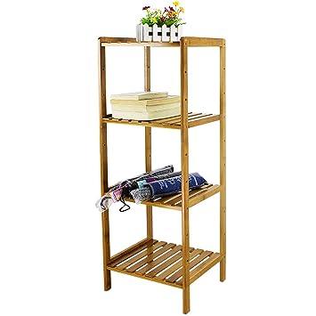 HBlife Bamboo 4 Tier Shelving Unit Bathroom Shelves Standing Towels Rack  Multifunctional Storage Organizer