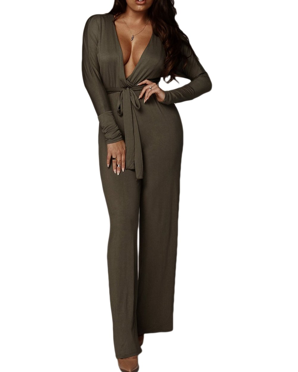 HAOAN Womens Deep V Neck Outfits Long Sleeve Wide Leg Pants Jumpsuit Rompers Belt