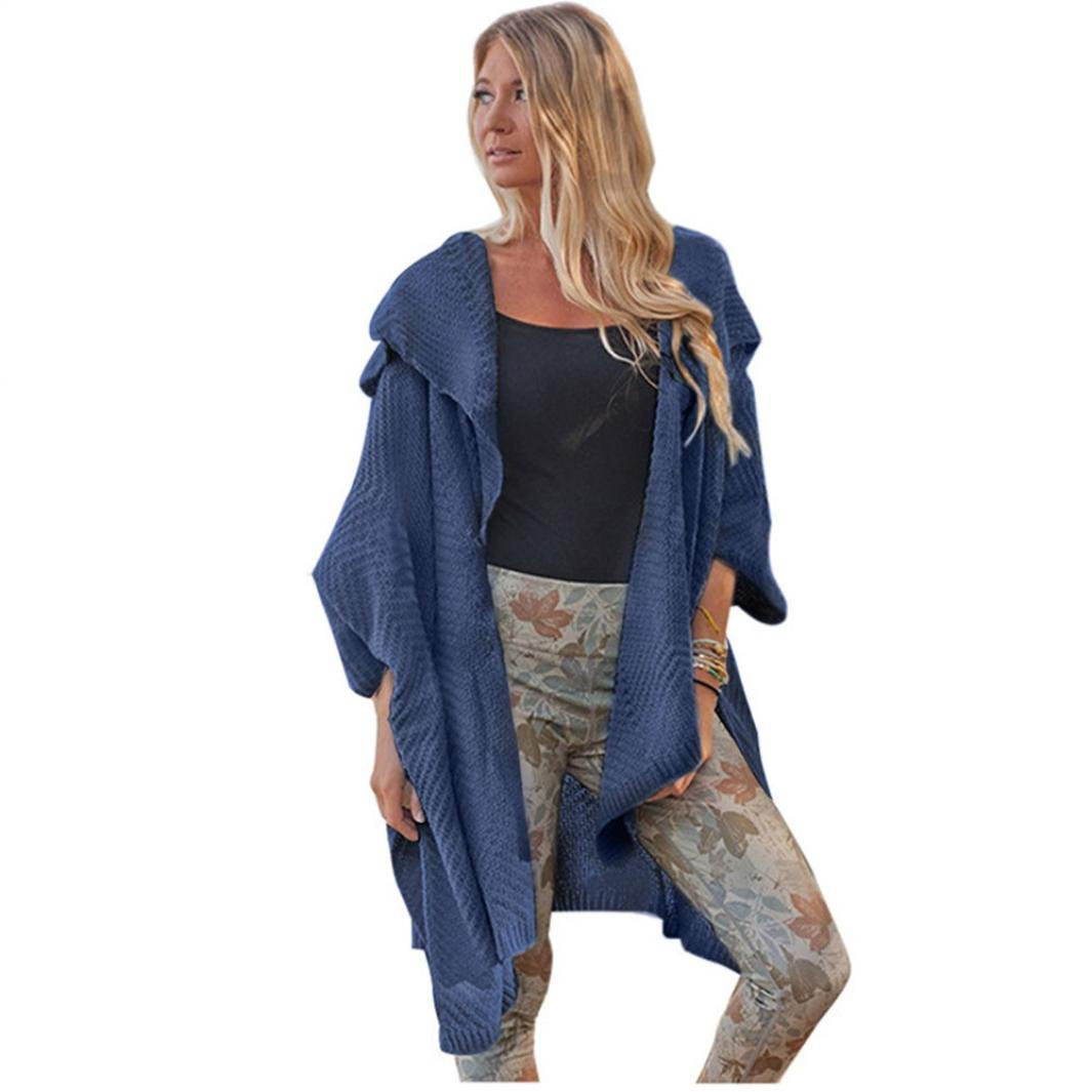 Paymenow Women's Loose Fit Long Sleeve Open Front Sweaters Cardigans Cover up Coat (Free Size, Dark Blue)