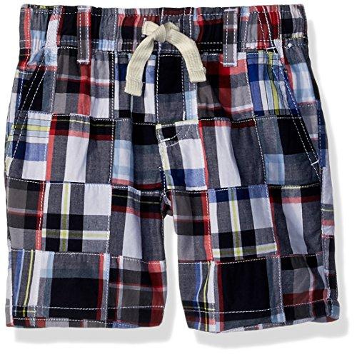 (Gymboree Boys' Little Drawstring Patchwork Shorts, Multi Plaid, 8)