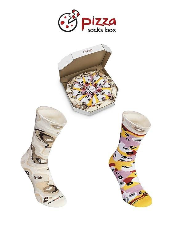 Pizza Socks Box - Pizza Caprichosa - 4 pares de CALCETINES Divertidos de ALGADON, Unicos y Originales Idea de REGALO| para Mujer y Hombre: Tamaños 41-46, ...