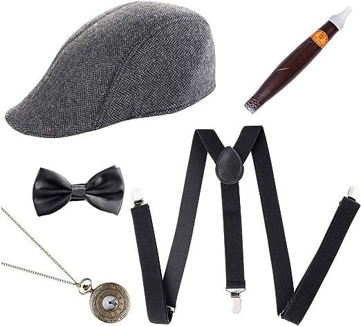 1920s Mens Gatsby Gangster Costume Accessories Set 30s Manhattan Hat Suspenders