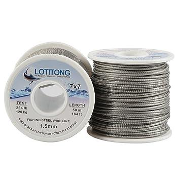 Lotitong - Cable de alambre de 50 metros para pesca de alambre de acero inoxidable con revestimiento de nailon 7 x 7 49 de acero inoxidable