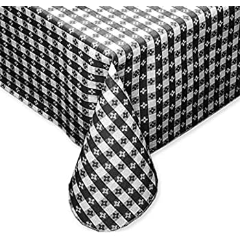 Tavern Check Classic Restaurant Quality Flannel Back Vinyl Tablecloth, 70 Inch  Round, Black