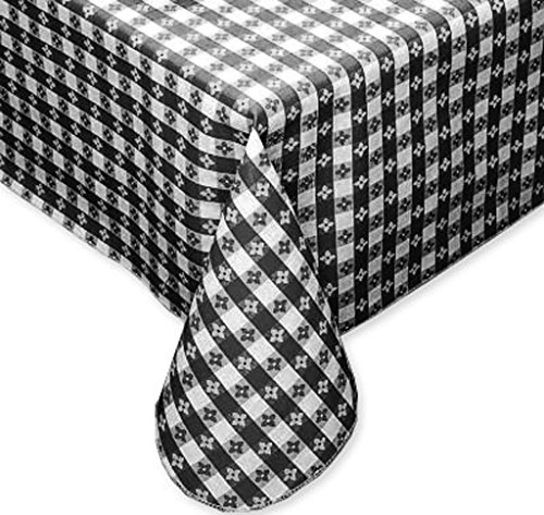 Tavern Check Classic Restaurant Quality Flannel Back Vinyl Tablecloth, 52X90 Oblong (Rectangle), Black & White (Gingham Vinyl Tablecloth)